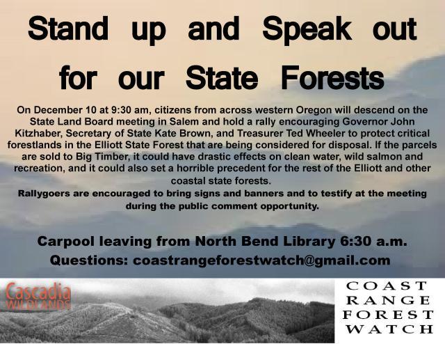 Rally with Cascadia Wildlands Dec. 10